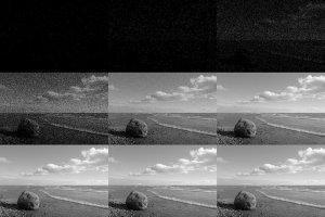 Darstellung der zunehmenden Zahl der Photonen pro Bildpixel, Bild von Mdf (Eigenes Werk) Lizenz: [url=http://creativecommons.org/licenses/by-sa/3.0/deed.de]CreativeCommons CC-BY-SA-3.0[/url]