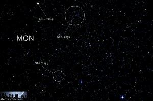 """Von Stern zu Stern: Aufsuchen der Beobachtungsobjekte im Sternbild Einhorn, Aufnahme mit 6"""" f/5 Newton, Pentax K-500, 12 x 25 Sek., ISO 3200"""