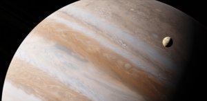 Gasriese Jupiter und einer seiner Monde (künstlerische Darstellung)