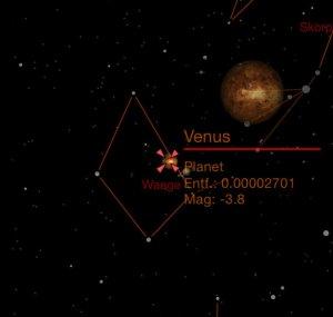 Ansicht im Handplanetarium: Eingeblendete Daten und Objekte