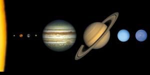 Die acht Planeten unseres Sonnensystems im Größenvergleich